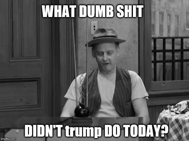 The Honeymooners Ed Norton Asks A Question About trump! |  WHAT DUMB SHIT; DIDN'T trump DO TODAY? | image tagged in the honeymooners,ed norton,donald trump is an idiot,trump is a moron,trump is an asshole,trump unfit unqualified dangerous | made w/ Imgflip meme maker
