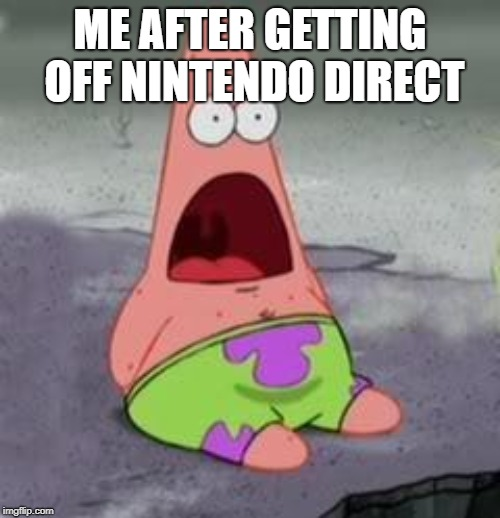 Suprised Patrick |  ME AFTER GETTING OFF NINTENDO DIRECT | image tagged in suprised patrick | made w/ Imgflip meme maker