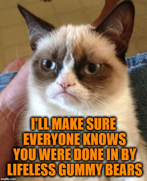 Grumpy Cat Meme | I'LL MAKE SURE EVERYONE KNOWS YOU WERE DONE IN BY LIFELESS GUMMY BEARS | image tagged in memes,grumpy cat | made w/ Imgflip meme maker