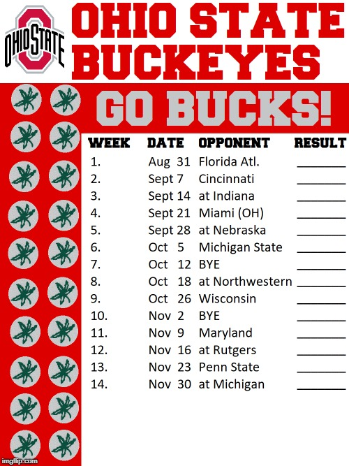 Ohio State Football Schedule 2019 2019 Football Schedule Design | Eleven Warriors