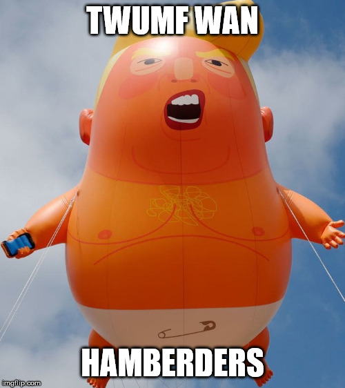 TWUMF WAN HAMBERDERS | image tagged in balloon trump,donald trump,donald trump is an idiot,funny meme,too funny,political meme | made w/ Imgflip meme maker