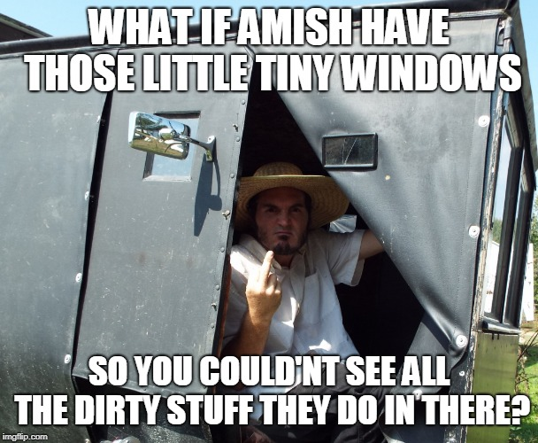 PISSED AMISH | WHAT IF AMISH HAVE THOSE LITTLE TINY WINDOWS SO YOU COULD'NT SEE ALL THE DIRTY STUFF THEY DO IN THERE? | image tagged in pissed off amish,middle finger,amish | made w/ Imgflip meme maker
