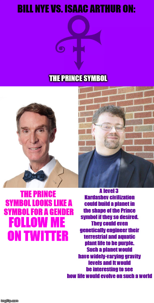 BILL NYE VS. ISAAC ARTHUR ON: THE PRINCE SYMBOL THE PRINCE SYMBOL LOOKS LIKE A SYMBOL FOR A GENDER FOLLOW ME ON TWITTER A level 3 Kardashev  | image tagged in blank white template,bill nye the science guy,prince | made w/ Imgflip meme maker