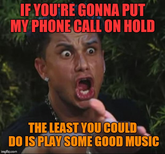 The music is always annoying! | IF YOU'RE GONNA PUT MY PHONE CALL ON HOLD THE LEAST YOU COULD DO IS PLAY SOME GOOD MUSIC | image tagged in memes,dj pauly d,on hold,phone,music,bad music | made w/ Imgflip meme maker