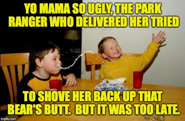 Yo Mamas So Fat Meme | YO MAMA SO UGLY, THE PARK RANGER WHO DELIVERED HER TRIED TO SHOVE HER BACK UP THAT BEAR'S BUTT.  BUT IT WAS TOO LATE. | image tagged in memes,yo mamas so fat | made w/ Imgflip meme maker