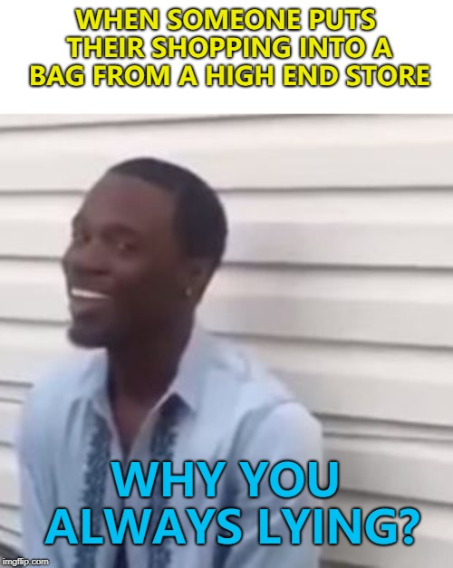 Cheap shopping in bags from an expensive shop... :) |  WHEN SOMEONE PUTS THEIR SHOPPING INTO A BAG FROM A HIGH END STORE; WHY YOU ALWAYS LYING? | image tagged in why you always lying,memes,shopping | made w/ Imgflip meme maker