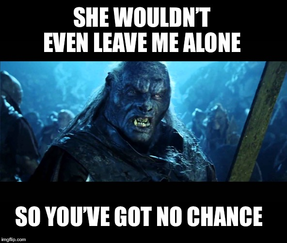 LOTR Meat back on the menu | SHE WOULDN'T EVEN LEAVE ME ALONE SO YOU'VE GOT NO CHANCE | image tagged in lotr meat back on the menu | made w/ Imgflip meme maker