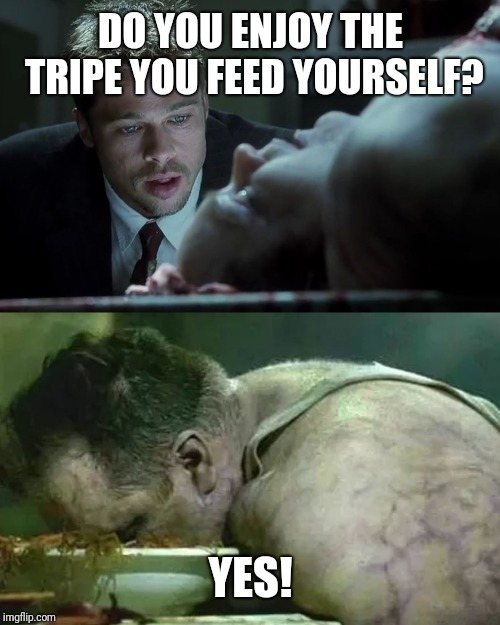Choke On It | DO YOU ENJOY THE TRIPE YOU FEED YOURSELF? YES! | image tagged in last words,lies,brad pitt,fat people,you suck,fake news | made w/ Imgflip meme maker