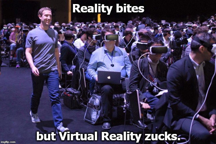 Reality bites but Virtual Reality zucks. | image tagged in reality,virtual reality,vr,mark zuckerberg | made w/ Imgflip meme maker