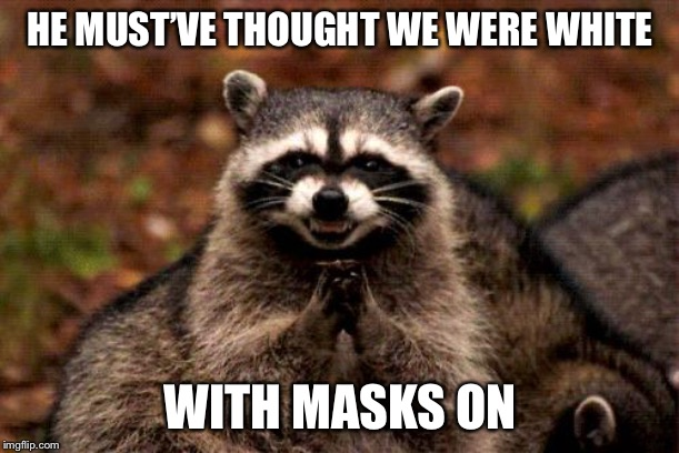 Evil Plotting Raccoon Meme | HE MUST'VE THOUGHT WE WERE WHITE WITH MASKS ON | image tagged in memes,evil plotting raccoon | made w/ Imgflip meme maker