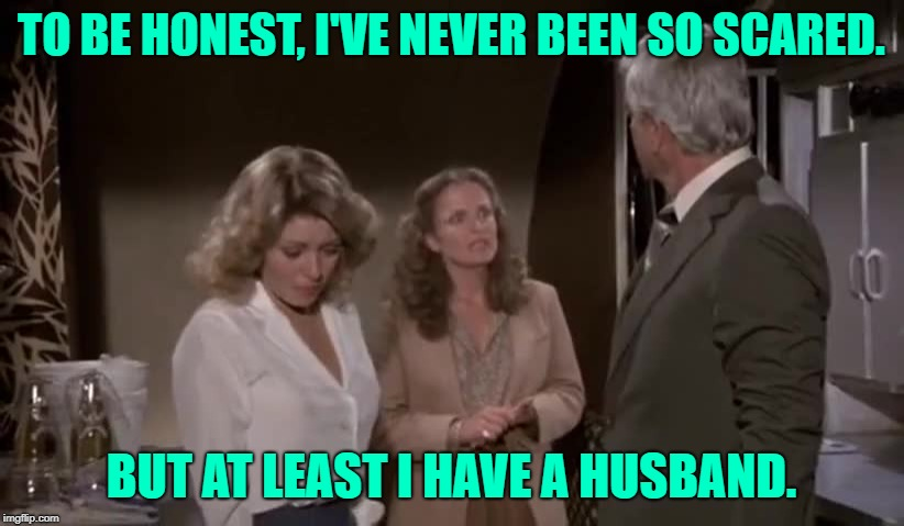 Airplane Wives |  TO BE HONEST, I'VE NEVER BEEN SO SCARED. BUT AT LEAST I HAVE A HUSBAND. | image tagged in airplane,movies,movie quotes,marriage,wives,funny memes | made w/ Imgflip meme maker