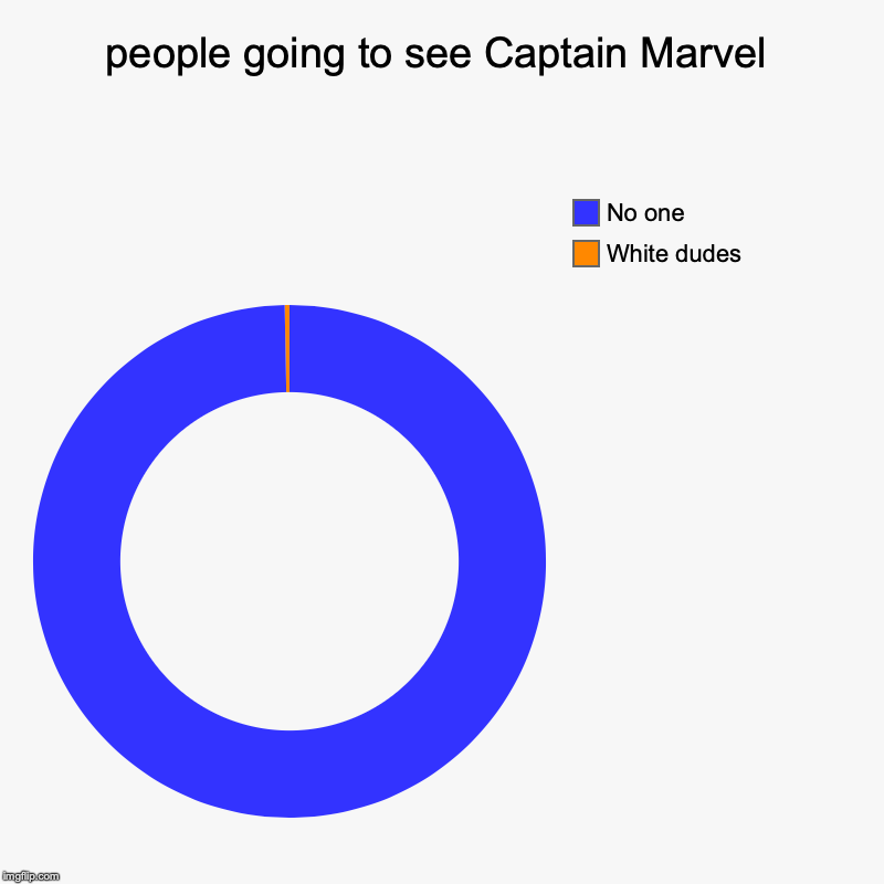 people going to see Captain Marvel | White dudes, No one | image tagged in charts,donut charts | made w/ Imgflip chart maker