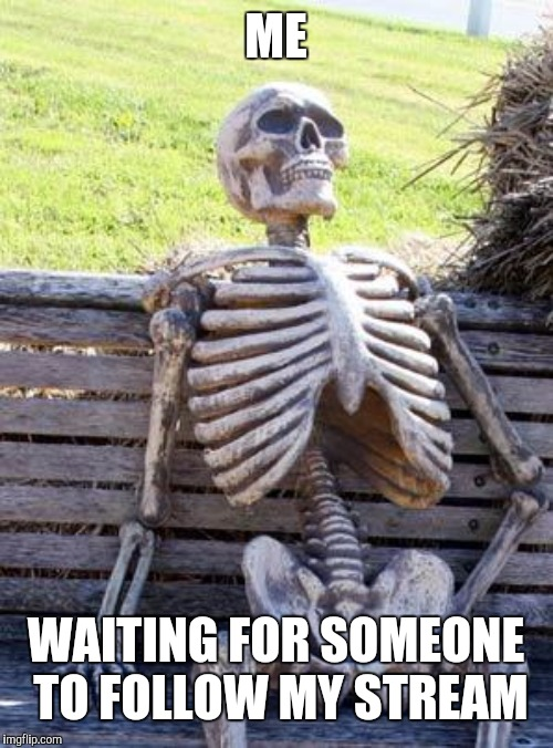 Waiting Skeleton | ME WAITING FOR SOMEONE TO FOLLOW MY STREAM | image tagged in memes,waiting skeleton | made w/ Imgflip meme maker