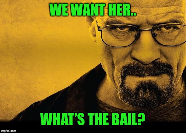 Breaking bad | WE WANT HER.. WHAT'S THE BAIL? | image tagged in breaking bad | made w/ Imgflip meme maker