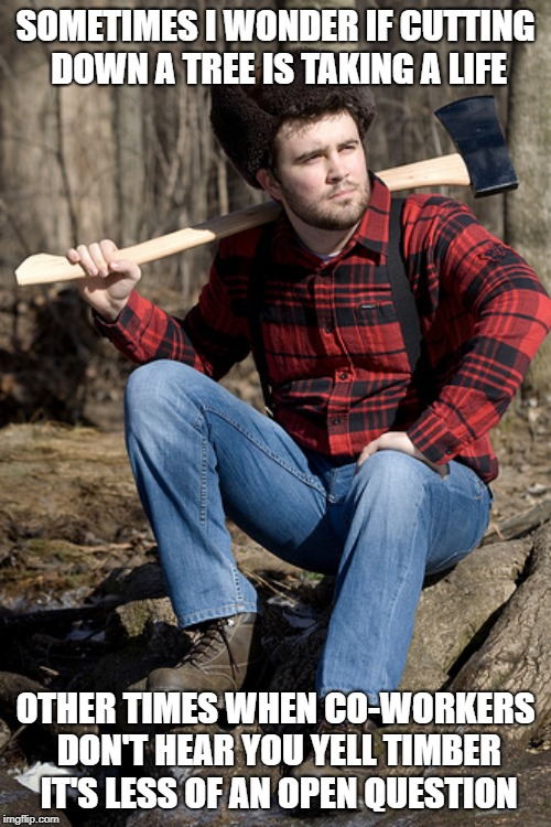 Lumberjack Ethics | SOMETIMES I WONDER IF CUTTING DOWN A TREE IS TAKING A LIFE OTHER TIMES WHEN CO-WORKERS DON'T HEAR YOU YELL TIMBER IT'S LESS OF AN OPEN QUEST | image tagged in memes,solemn lumberjack,life,death,ethics,accidents | made w/ Imgflip meme maker