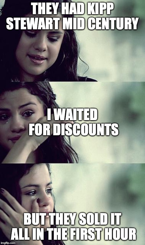 selena gomez crying | THEY HAD KIPP STEWART MID CENTURY BUT THEY SOLD IT ALL IN THE FIRST HOUR I WAITED FOR DISCOUNTS | image tagged in selena gomez crying | made w/ Imgflip meme maker