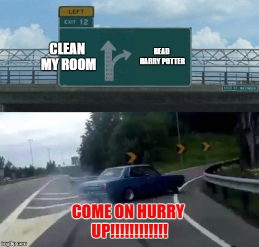 True Harry Potter Fan Right Here | CLEAN MY ROOM READ HARRY POTTER COME ON HURRY UP!!!!!!!!!!!! | image tagged in memes,left exit 12 off ramp | made w/ Imgflip meme maker