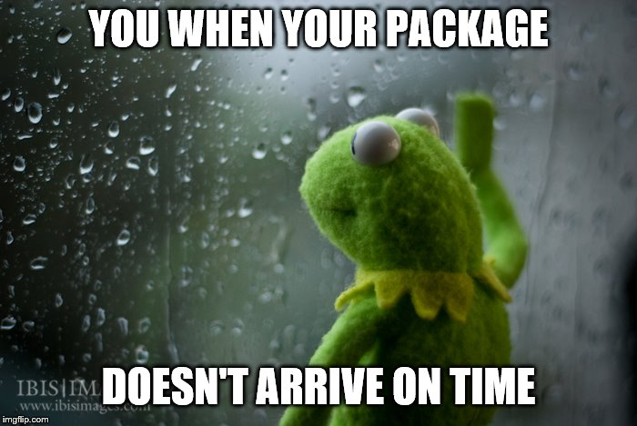 Late package |  YOU WHEN YOUR PACKAGE; DOESN'T ARRIVE ON TIME | image tagged in kermit the frog rainy day | made w/ Imgflip meme maker