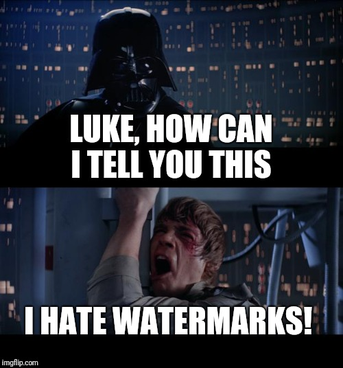 Star Wars No Meme | LUKE, HOW CAN I TELL YOU THIS I HATE WATERMARKS! | image tagged in memes,star wars no | made w/ Imgflip meme maker