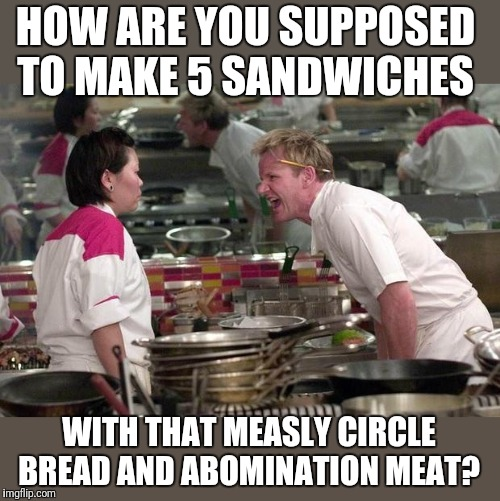 Gordon Ramsey | HOW ARE YOU SUPPOSED TO MAKE 5 SANDWICHES WITH THAT MEASLY CIRCLE BREAD AND ABOMINATION MEAT? | image tagged in gordon ramsey | made w/ Imgflip meme maker