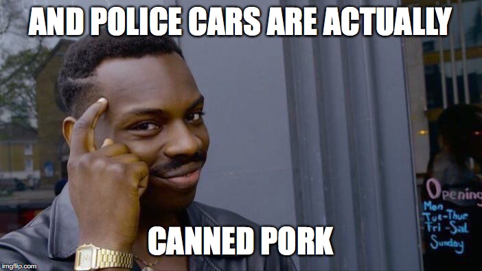 AND POLICE CARS ARE ACTUALLY CANNED PORK | image tagged in memes,roll safe think about it | made w/ Imgflip meme maker