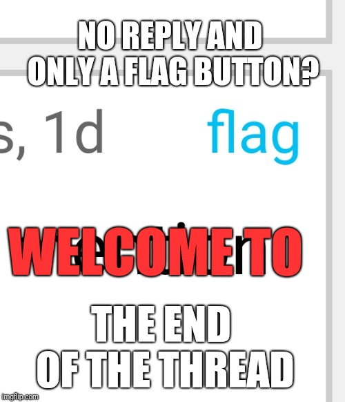 End of the Thread Week | March 7-13 | A BeyondTheComments Event |  NO REPLY AND ONLY A FLAG BUTTON? WELCOME TO; THE END OF THE THREAD | image tagged in endofthread,beyondthecomments,palringo,btc | made w/ Imgflip meme maker