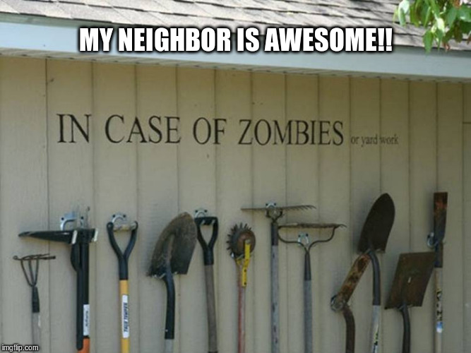 Zombie Apocalypse  | MY NEIGHBOR IS AWESOME!! | image tagged in zombies,zombie apocalypse,neighbors | made w/ Imgflip meme maker