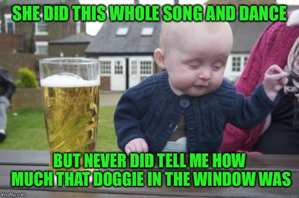 The one with the waggely tail | SHE DID THIS WHOLE SONG AND DANCE BUT NEVER DID TELL ME HOW MUCH THAT DOGGIE IN THE WINDOW WAS | image tagged in memes,drunk baby | made w/ Imgflip meme maker