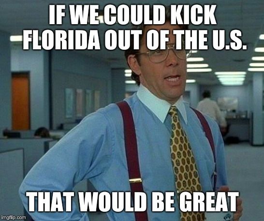 Florida's not on my good side right now. | IF WE COULD KICK FLORIDA OUT OF THE U.S. THAT WOULD BE GREAT | image tagged in memes,that would be great | made w/ Imgflip meme maker