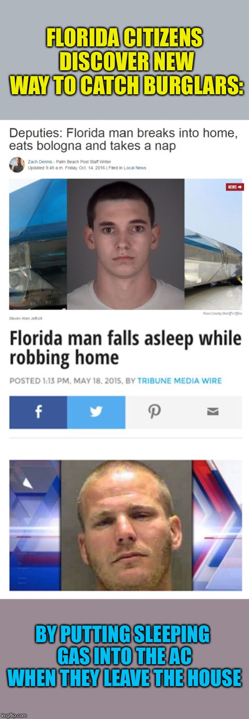 Catnap Burglars.  Florida Man Week 3/3 to 3/10 A Claybourne and Triumph_9 Event |  FLORIDA CITIZENS DISCOVER NEW WAY TO CATCH BURGLARS:; BY PUTTING SLEEPING GAS INTO THE AC WHEN THEY LEAVE THE HOUSE | image tagged in florida man,burglar,stupid criminals,good idea,funny memes | made w/ Imgflip meme maker