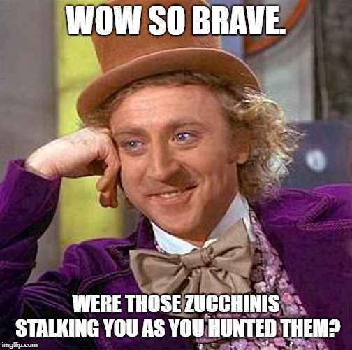Creepy Condescending Wonka Meme | WOW SO BRAVE. WERE THOSE ZUCCHINIS STALKING YOU AS YOU HUNTED THEM? | image tagged in memes,creepy condescending wonka | made w/ Imgflip meme maker