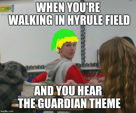Took this picture of my friend and thought it was perf for a meme | WHEN YOU'RE WALKING IN HYRULE FIELD AND YOU HEAR THE GUARDIAN THEME | image tagged in the legend of zelda,the legend of zelda breath of the wild,video games | made w/ Imgflip meme maker