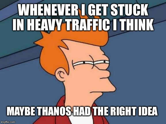 Futurama Fry Meme | WHENEVER I GET STUCK IN HEAVY TRAFFIC I THINK MAYBE THANOS HAD THE RIGHT IDEA | image tagged in memes,futurama fry | made w/ Imgflip meme maker