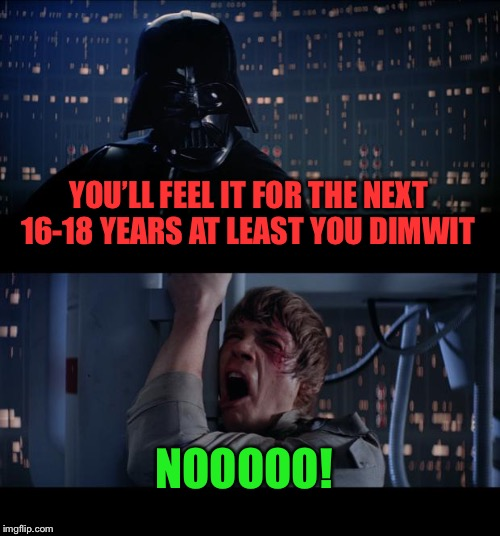 Star Wars No Meme | YOU'LL FEEL IT FOR THE NEXT 16-18 YEARS AT LEAST YOU DIMWIT NOOOOO! | image tagged in memes,star wars no | made w/ Imgflip meme maker