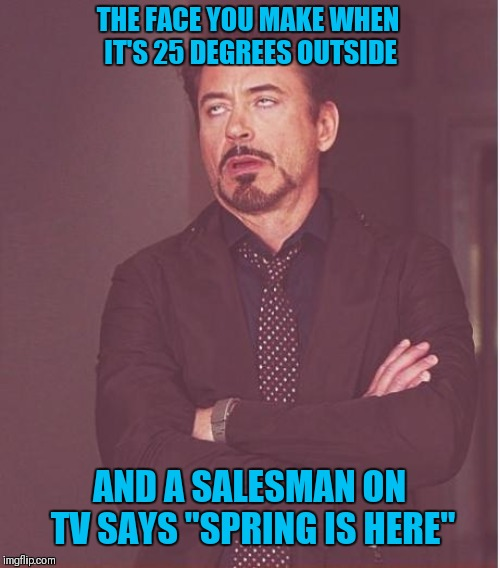 "Face You Make Robert Downey Jr | THE FACE YOU MAKE WHEN IT'S 25 DEGREES OUTSIDE AND A SALESMAN ON TV SAYS ""SPRING IS HERE"" 