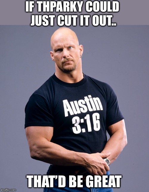 Stone Cold Steve Austin | IF THPARKY COULD JUST CUT IT OUT.. THAT'D BE GREAT | image tagged in stone cold steve austin | made w/ Imgflip meme maker