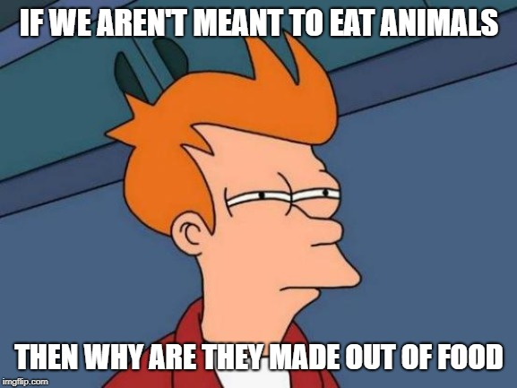 Futurama Fry Meme | IF WE AREN'T MEANT TO EAT ANIMALS THEN WHY ARE THEY MADE OUT OF FOOD | image tagged in memes,futurama fry | made w/ Imgflip meme maker