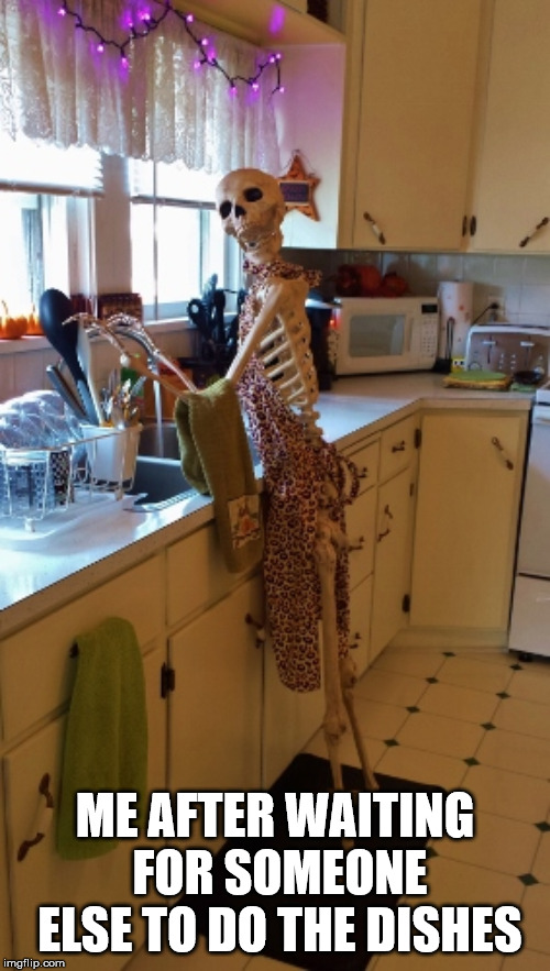 Waiting for Dishes | ME AFTER WAITING FOR SOMEONE ELSE TO DO THE DISHES | image tagged in lol,dishes,shores,skeleton,funny | made w/ Imgflip meme maker