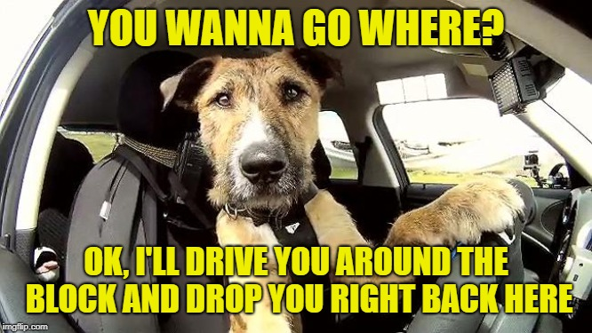 Uber Driver Replacement! | YOU WANNA GO WHERE? OK, I'LL DRIVE YOU AROUND THE BLOCK AND DROP YOU RIGHT BACK HERE | image tagged in uber driver replacement | made w/ Imgflip meme maker