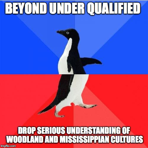 Socially Awkward Awesome Penguin |  BEYOND UNDER QUALIFIED; DROP SERIOUS UNDERSTANDING OF WOODLAND AND MISSISSIPPIAN CULTURES | image tagged in memes,socially awkward awesome penguin | made w/ Imgflip meme maker