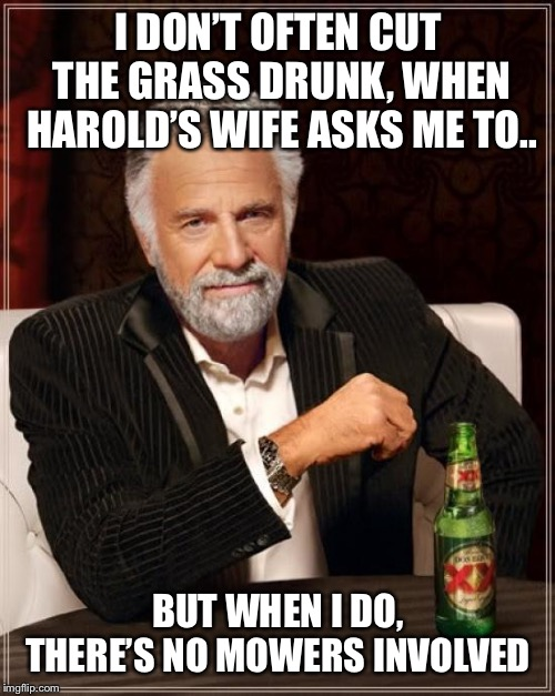 The Most Interesting Man In The World Meme | I DON'T OFTEN CUT THE GRASS DRUNK, WHEN HAROLD'S WIFE ASKS ME TO.. BUT WHEN I DO, THERE'S NO MOWERS INVOLVED | image tagged in memes,the most interesting man in the world | made w/ Imgflip meme maker