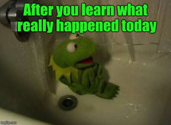 Kermit Shower | After you learn what really happened today | image tagged in kermit shower | made w/ Imgflip meme maker