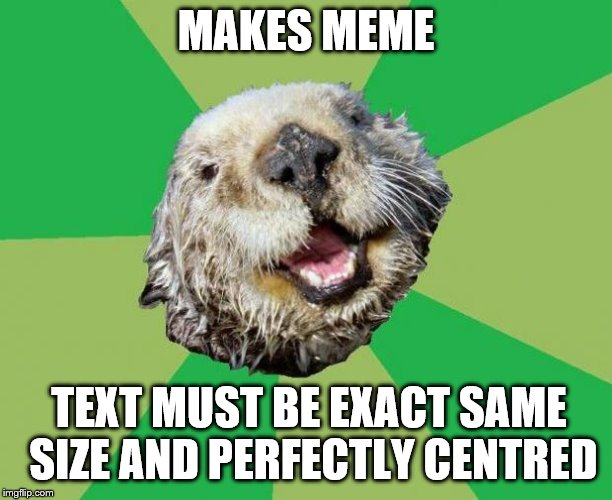 Story of my life | MAKES MEME TEXT MUST BE EXACT SAME SIZE AND PERFECTLY CENTRED | image tagged in ocd otter | made w/ Imgflip meme maker