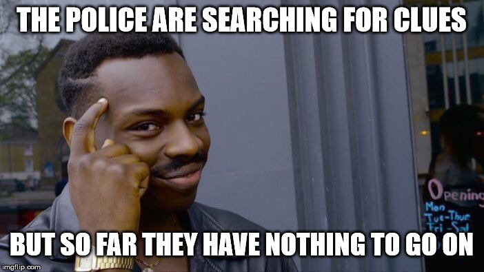 Roll Safe Think About It Meme | THE POLICE ARE SEARCHING FOR CLUES BUT SO FAR THEY HAVE NOTHING TO GO ON | image tagged in memes,roll safe think about it | made w/ Imgflip meme maker