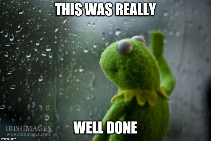 kermit window | THIS WAS REALLY WELL DONE | image tagged in kermit window | made w/ Imgflip meme maker