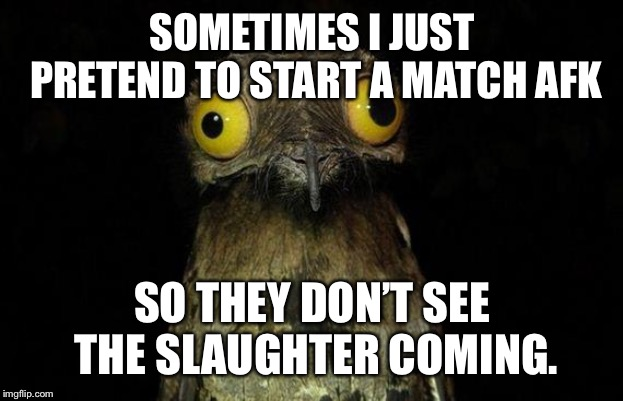 Weird Stuff I Do Potoo Meme | SOMETIMES I JUST PRETEND TO START A MATCH AFK SO THEY DON'T SEE THE SLAUGHTER COMING. | image tagged in memes,weird stuff i do potoo | made w/ Imgflip meme maker