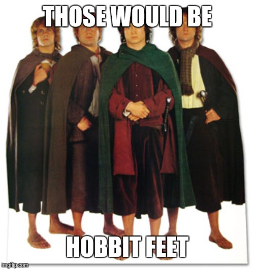 Hobbit feet | THOSE WOULD BE HOBBIT FEET | image tagged in hobbit feet | made w/ Imgflip meme maker