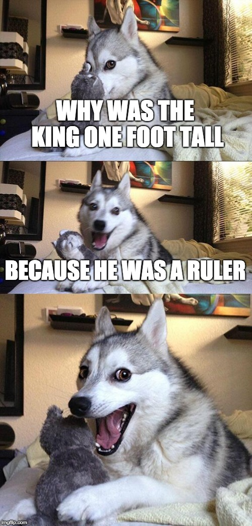 Bad Pun Dog |  WHY WAS THE KING ONE FOOT TALL; BECAUSE HE WAS A RULER | image tagged in memes,bad pun dog | made w/ Imgflip meme maker