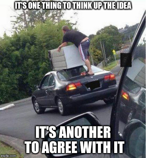 what could go wrong? | IT'S ONE THING TO THINK UP THE IDEA IT'S ANOTHER TO AGREE WITH IT | image tagged in moving day,funny meme,bad ideas,thinking,what could go wrong | made w/ Imgflip meme maker