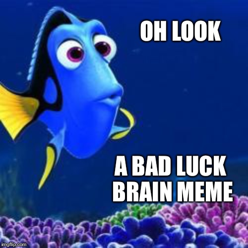 oh look | OH LOOK A BAD LUCK BRAIN MEME | image tagged in oh look | made w/ Imgflip meme maker